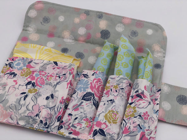 Pink Floral Tampon Bag, Gray Dot Sanitary Pad Pouch, Privacy Wallet Case for Women - EcoHip Custom Designs