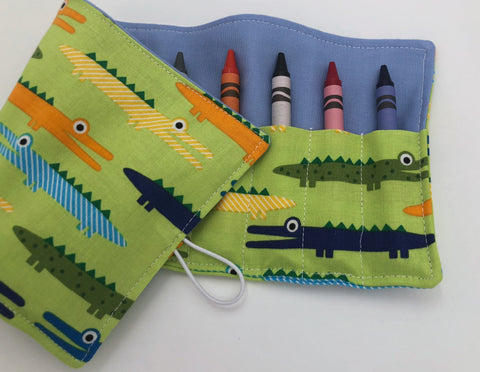 Alligator Crayon Wallet, Green Gator Crayon Roll Up Tote, Animal Craft Toy - EcoHip Custom Designs