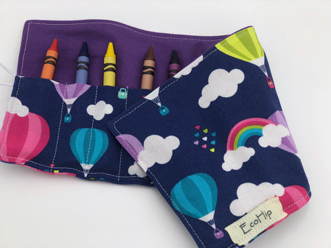 Crayon Roll, Crayon Wallet Case, Travel Toy, Kids Stocking Stuffer, Crayons Included - Air Balloons and Rainbows