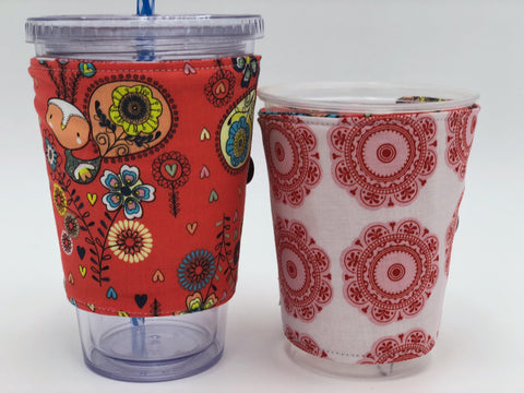 Peacock Iced Coffee Cozy, Red Insulated Hot Coffee Sleeve, Reversible Drink Cozy - EcoHip Custom Designs