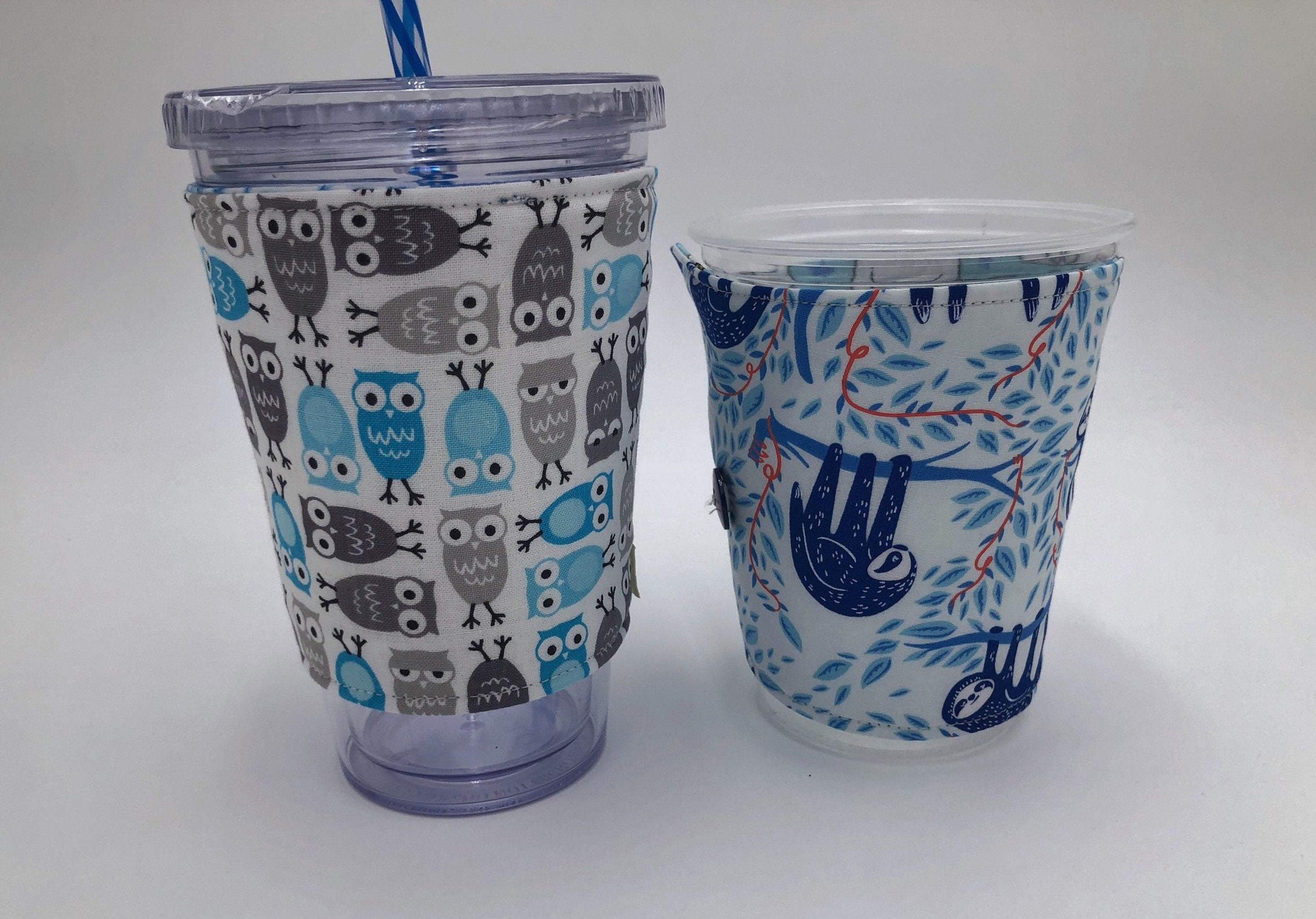 Blue Sloth Iced Coffee Cozy, Gray Owls Insulated Coffee Sleeve, Reversible Drink Cozy - EcoHip Custom Designs
