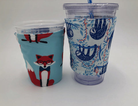 Aqua Blue Foxes Coffee Cozy, Reversible Iced Drink Sleeve, Sloth Insulated Hot Tea Cozy - EcoHip Custom Designs