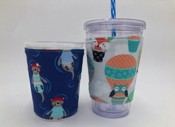 Blue Otter Coffee Cozy, Air Balloon Coffee Sleeve, Insulated, Reversible Coffee Cuff - EcoHip Custom Designs