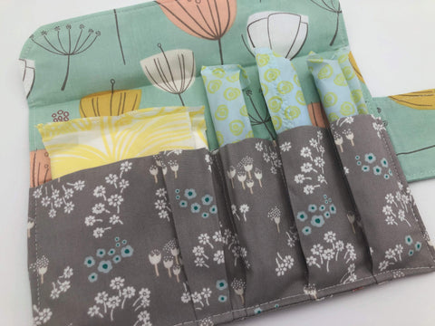 Gray Floral Sanitary Pad Pouch, Green Blooms Tampon Holder, Tampon Bag - EcoHip Custom Designs