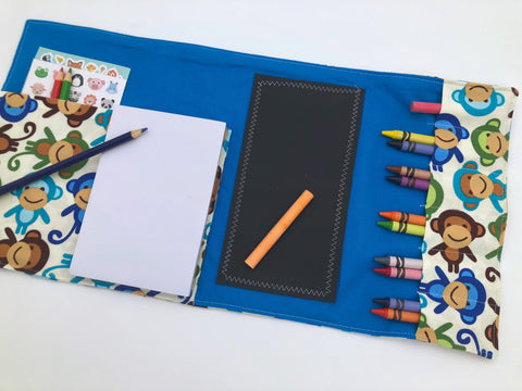 Monkey Creative Crayon Toy, Animal Pencil Case Roll Up, Chalk Board Mat, Stickers - EcoHip Custom Designs
