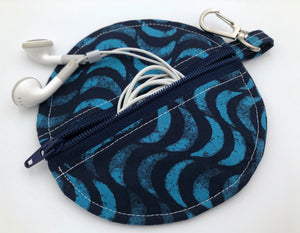 Ear Bud Pouch, Lens Cap Holder, Pacifier Pouch, Ear Bud Case, Paci Pod, Ear Pod Case, Ear Pod Pouch, Earpod Holder, Coin Purse - Blue Waves