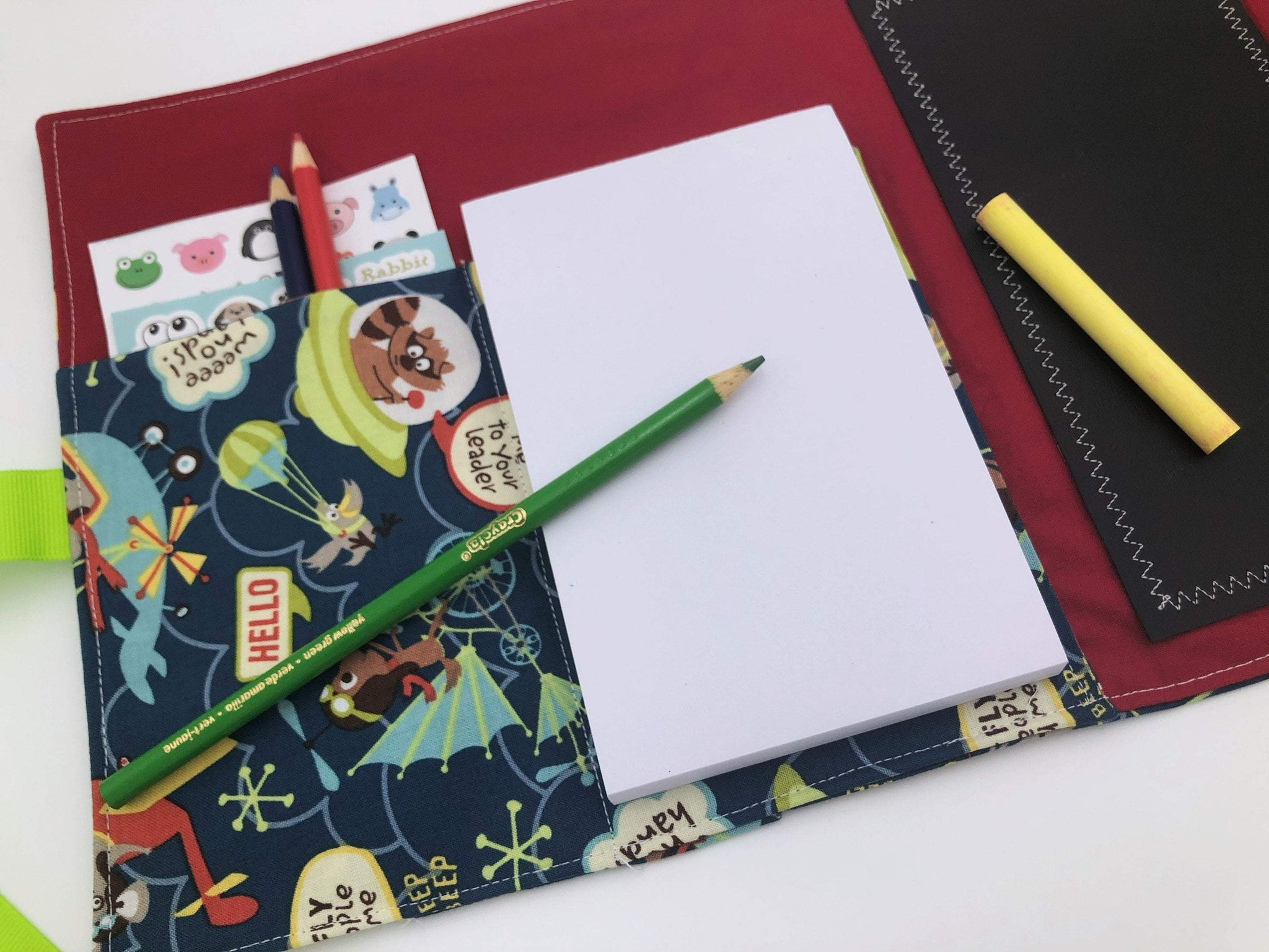 Activity Wallet, Travel Crayon Roll, Chalkboard Mat, Crayon Case, Gift for Kids, Pencil Case, Creative Toy, Stickers - Little Flyers