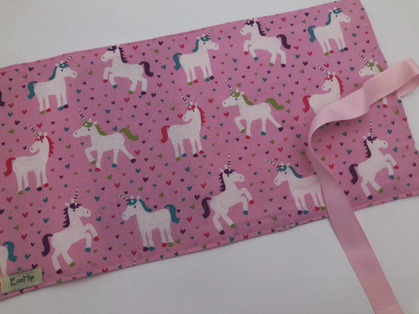 Activity Wallet, Travel Crayon Roll, Unicorn Craft Toys, Crayon Tote, Stickers, Chalk Board Mat - Pink Unicorns