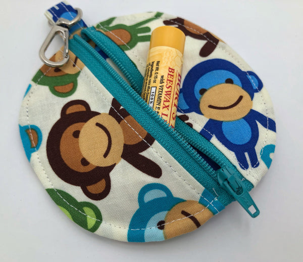 Ear Bud Pouch, Lens Cap Holder, Pacifier Pouch, Ear Bud Case, Paci Pod, Ear Pod Case, Ear Pod Pouch, Earpod Holder, Coin Purse - Monkey Blue