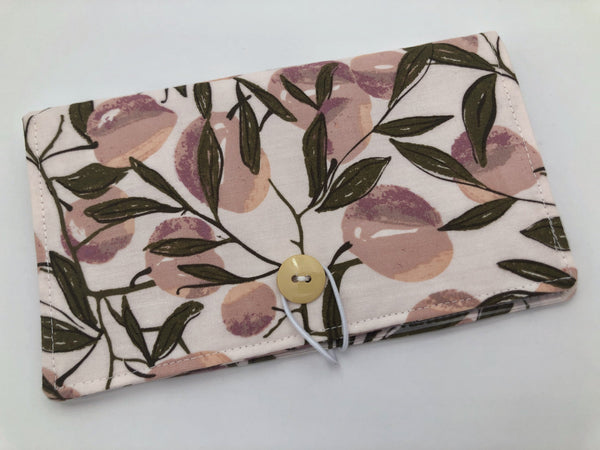 Tan Duplicate Checkbook Cover, Pen Holder, Beige Duplicate Check Book Register, Fabric Checkbook Cover - Herstory Floral