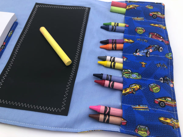 Activity Wallet, Travel Crayon Roll, Chalkboard Mat, Crayon Case, Gift for Kids, Pencil Case, Creative Toy, Stickers - Race Cars