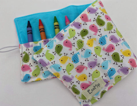Crayon Roll, Crayon Caddy, Crayons Included, Girl Stocking Stuffer, Bird Crayon Case - Mini Birds