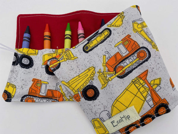 Trains Crayon Roll, Crayon Caddy, Toddler Birthday Party, Boy's Crayon Case, Construction Gray