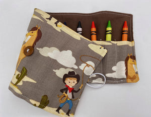 Crayon Roll, Crayon Caddy, Toddler Birthday Party, Western Crayon Case, Cowboy Kids