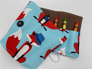 Kid's Crayon Roll, Superhero Crayon Case, Toddler Travel Toy, Stocking Stuffer, Travel Crayon Caddy - Dapper Foxes