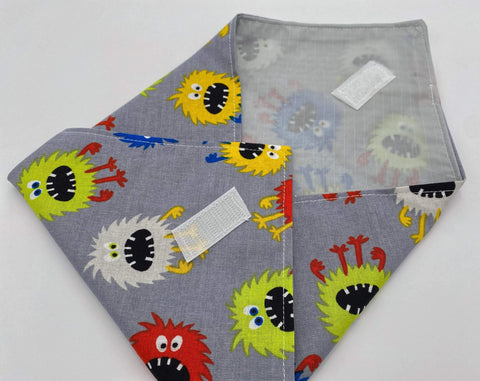 Reusable Sandwich Bag, Sandwich Wrap, Reusable Sandwich Mat, Sandwich Holder - Monsters Gray