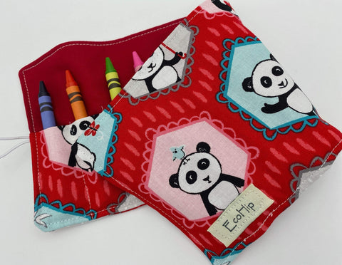 Panda Bear Crayon Roll, Crayon Caddy, Gift for Toddlers, Party Favor, Girl's Crayon Case, Stocking Stuffer- Panda Red