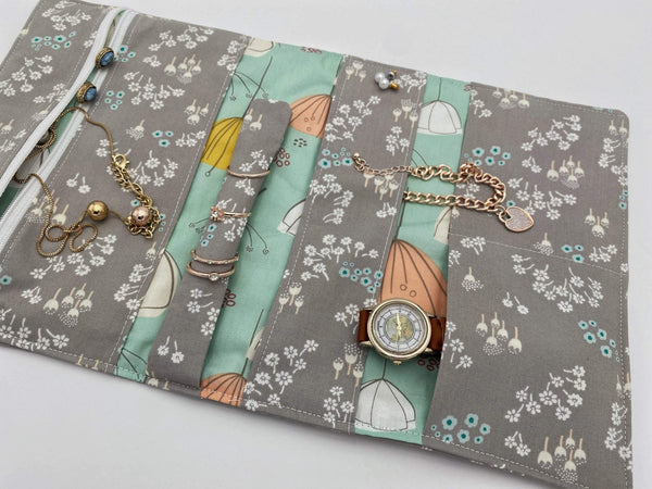 Travel Jewelry Roll, Jewelry Organizer, Jewelry Case, Jewelry Roll Up, Jewelry Travel Bag - Tenderness Gray
