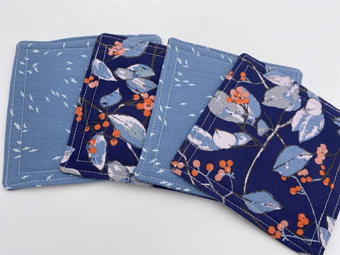 Fabric Coaster, Set of 4 Kitchen Coasters, Drink Coasters, Coffee Mug Rug, Hot Tea Cup Coaster - Branchlet Blue