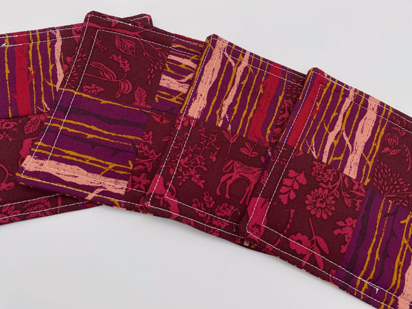 Fabric Coaster, Set of 4 Kitchen Coasters, Drink Coasters, Coffee Mug Rug, Hot Tea Cup Coaster - Forest Magenta