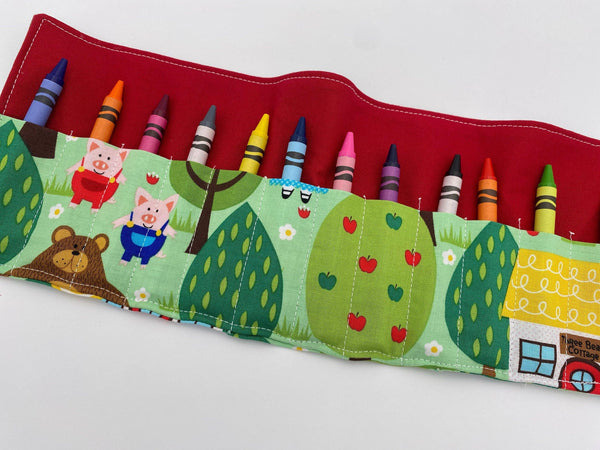 Fable Crayon Roll, Crayon Caddy, Gift for Toddlers, Party Favor, Girl's Crayon Case, Stocking Stuffer, Fairy Tales