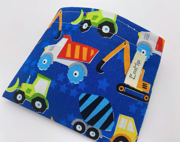 Reusable Snack Bag, Reusable Baggie, Car Snack Bag, Fabric Snack Bag, Reusable Fabric Snack Bag, Snack Holder - Construction Vehicles Blue
