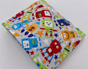 Reusable Snack Bag, Reusable Baggie, Snack Bag, Fabric Snack Bag, Reusable Fabric Snack Bag - Robots Gray