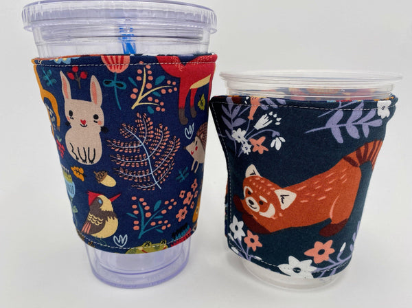 Reversible Coffee Cozy, Insulated Coffee Sleeve, Coffee Cuff, Iced Coffee Sleeve, Hot Tea Sleeve, Cold Drink Cup Cuff - Red Panda, Animals