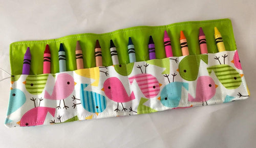 Springs Birds Crayon Roll, Quiet Toy for Travel, Girl's Stocking Stuffer - EcoHip Custom Designs