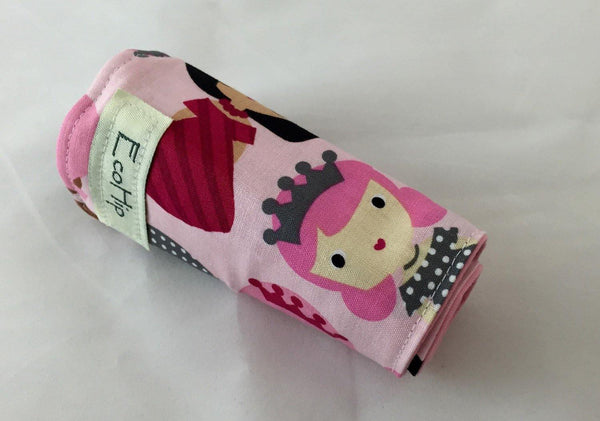 Princess Pink Crayon Roll, Gir's Stocking Stuffer, Princess Toy for Travel - EcoHip Custom Designs