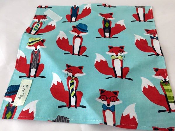 Fox Reusable Sandwich Wrap, Blue Eco-Friendly School Sandwich Bag, Reusable Napkin - EcoHip Custom Designs
