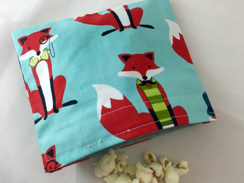Dapper Foxes, Eco-Friendly Snack Bag, Reusable Snack Baggie, Fox Lunchbox - EcoHip Custom Designs