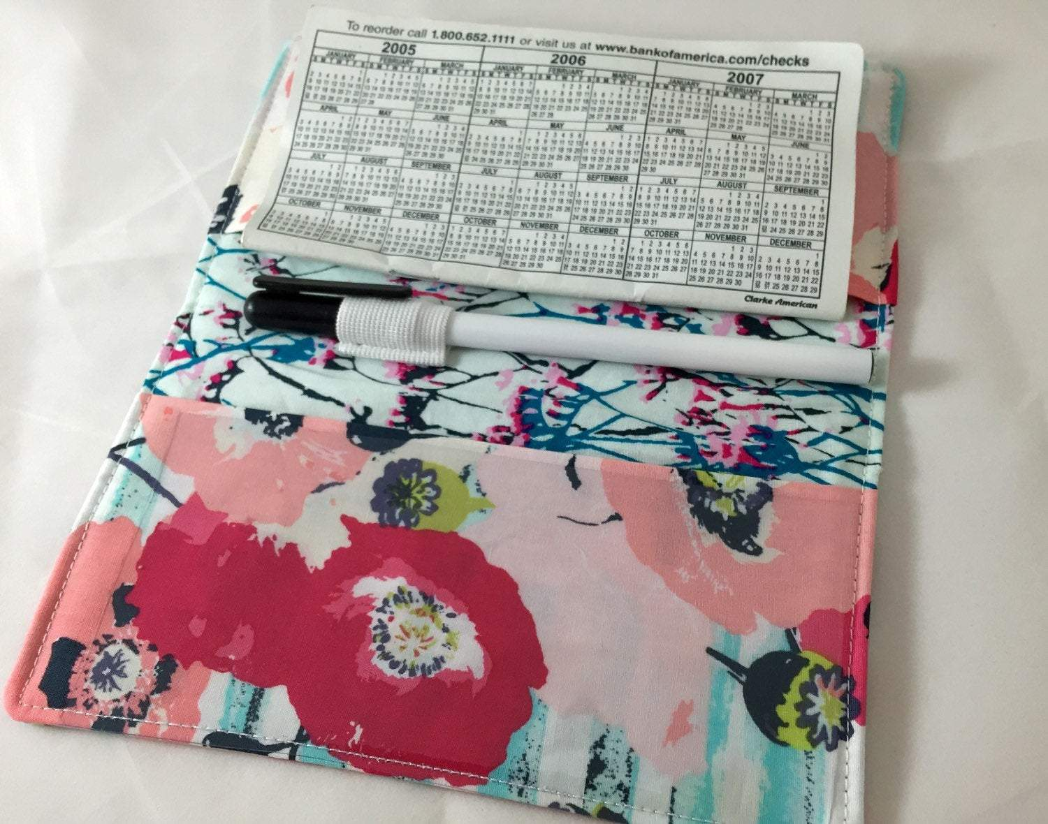 Blue Checkbook Cover, White Duplicate Check Book, Pen Holder, Women's Checkbook - EcoHip Custom Designs