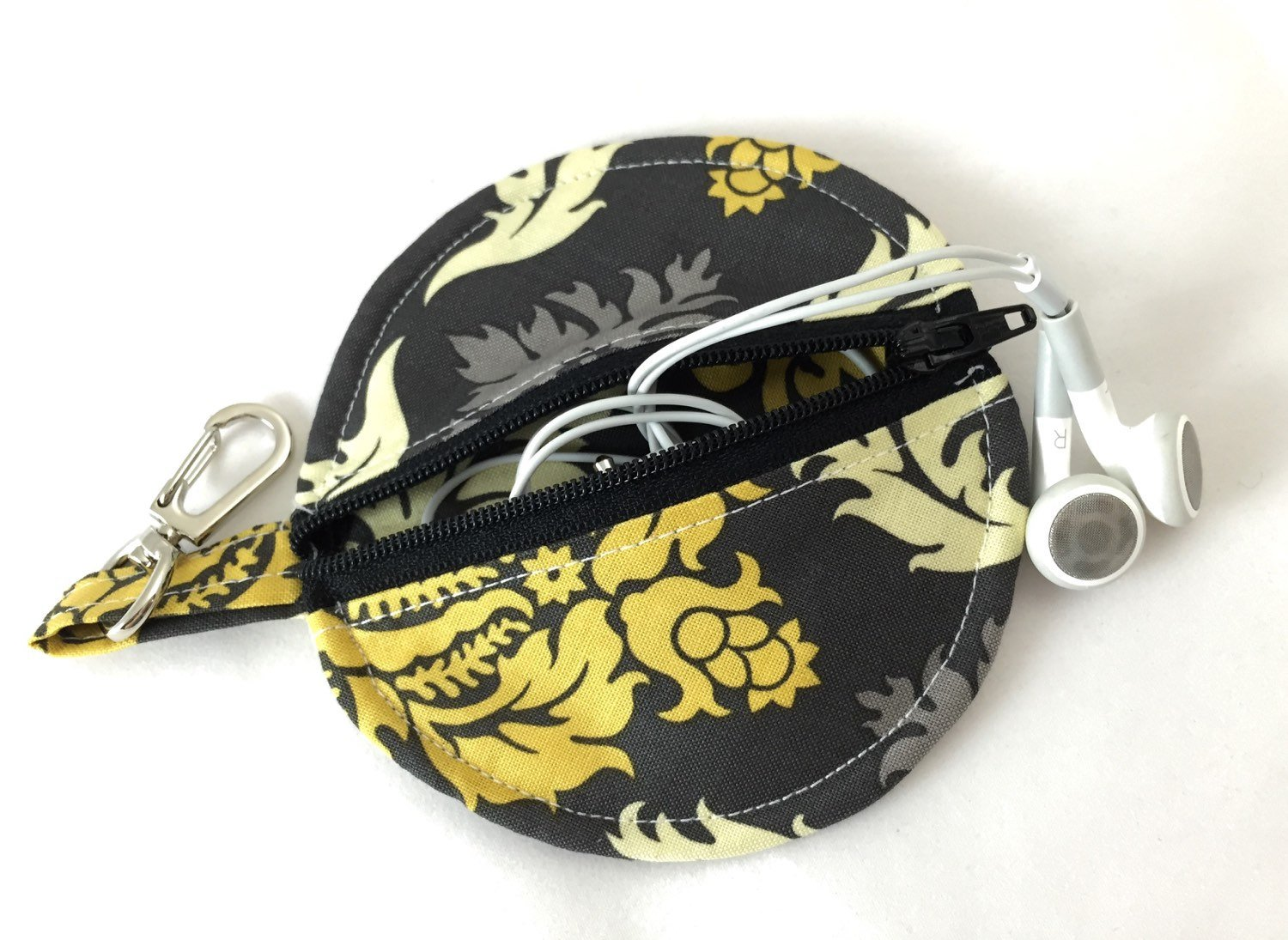Gray Damask Ear Pod Pouch, Gold Damask Pacifier Case, Lip Balm Holder - EcoHip Custom Designs