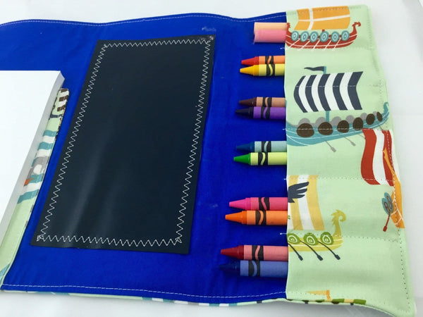 Ships Crayon Holder, Boats Creative Toy, Green, Blue, Crayon Roll Up, Chalkboard Mat - EcoHip Custom Designs