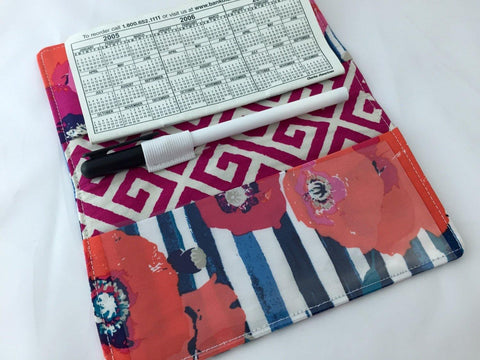 Crimson Red Check Book Cover, Blue Floral, Duplicate Checkbook Register - EcoHip Custom Designs