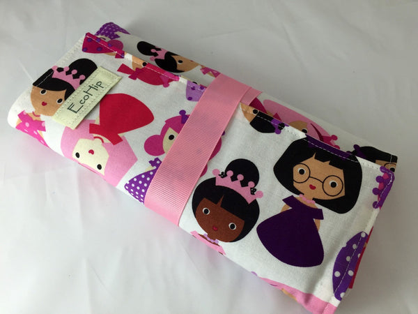 Princess Crayon Case, Pink Chalk Board Mat, Chalk, Pencil Roll Up, Creative Travel Toy for Toddlers - EcoHip Custom Designs