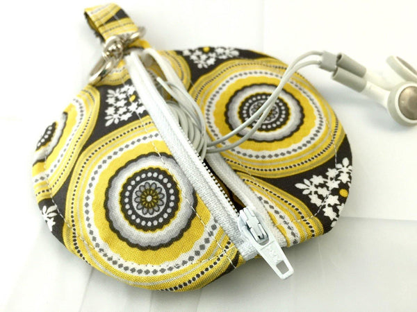 Ear Bud Pouch - Lens Cap Holder - Pacifier Pouch - Ear Bud Case - Paci Pod - Riley Blake Parisian Medallions Yellow
