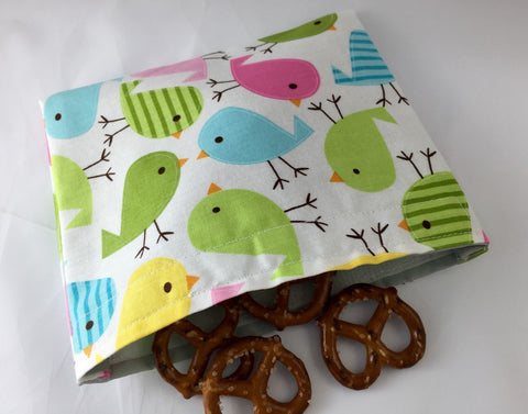 Bird Snack Bag, Eco-Friendly Snack Baggie for Girl's School Lunch - EcoHip Custom Designs