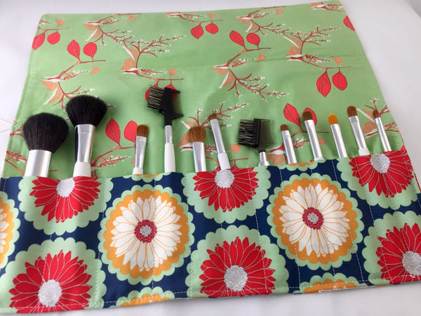 Cranberry Red Make Up Brush Bag, Travel Cosmetic Brush Case, Brush Holder - EcoHip Custom Designs