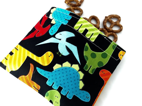 Dinosaur Snack Bag, Eco-Friendly Snack Baggie for Boy's School Lunch - EcoHip Custom Designs