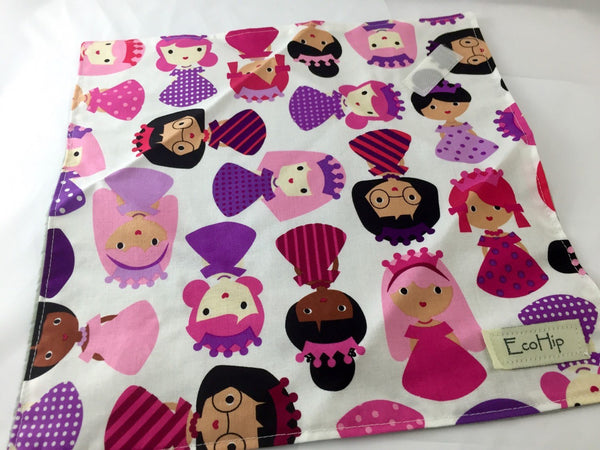 Princess Sandwich Mat, Pink Reusable Sandwich Bag, Eco-Friendly Napkin - EcoHip Custom Designs