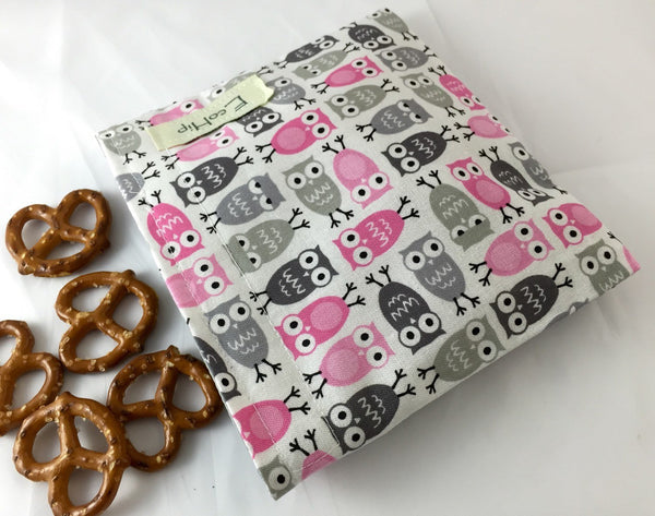 Owl Snack Bag, Gray and Pink Owls, Reusable Snack Bag - EcoHip Custom Designs