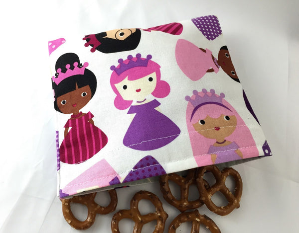 Princess Snack Bag, Pink Reusable Snack Baggie, Princess School Lunch - EcoHip Custom Designs