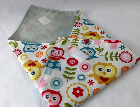 Owl Sandwich Wrap, Reusable Sandwich Bag, White School Lunch Napking - EcoHip Custom Designs