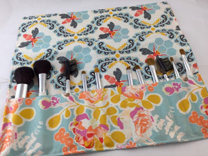 Travel Cosmetic Brush Bag, Honey Bee Makeup Brush Case, Blue Makeup Pouch - EcoHip Custom Designs