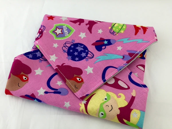 Girl Superhero Sandwich Bag, Pink Sandwich Mat, Super Hero Girl Napkin - EcoHip Custom Designs