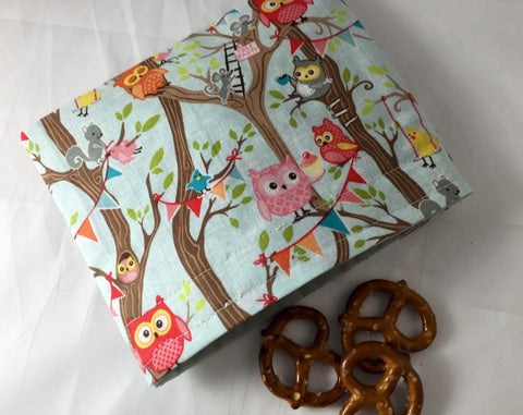 Reusable Owl Snack Bag, Blue Snack Baggie, Eco-Friendly Snack Pouch for School - EcoHip Custom Designs