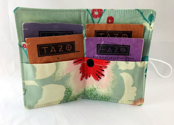 Red Blooms, Travel Tea Bags for Purse, Teabag Cozy, Tea Wallet, Blue - EcoHip Custom Designs