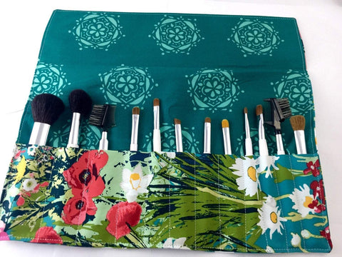 Teal Green Makeup Brush Organizer, Travel Crochet Hook Roll, Paintbrush Case - EcoHip Custom Designs